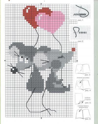 ponto cruz - casal de ratos