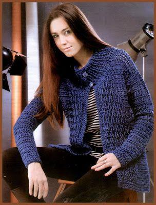 Blue Cardigan - Free Crochet Diagram - (uncinettodoro.blogspot)