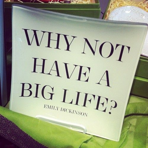 """Why not have a big life?"" - Emily Dickinson"