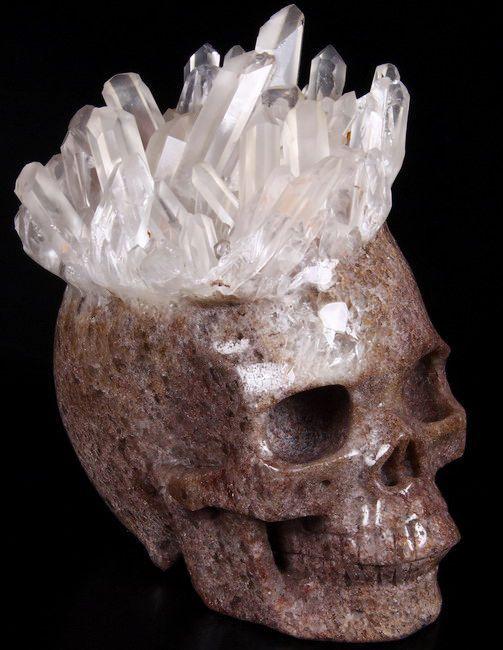 "Druse, Giant 6.1"" QUARTZ ROCK CRYSTAL Carved Crystal Skull, Realistic"