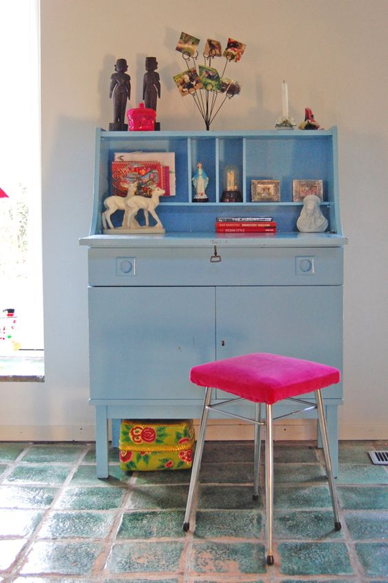 blue piece of forniture