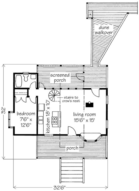 Weekended cabin plan 156770 770 sq ft 1 bed 1 bath crows for Crows nest house plans