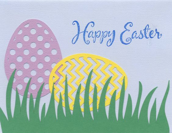2015-042 Easter - STAMP: Inkadinkado sentiment; SILHOUETTE: 3 Easter Eggs, Grass