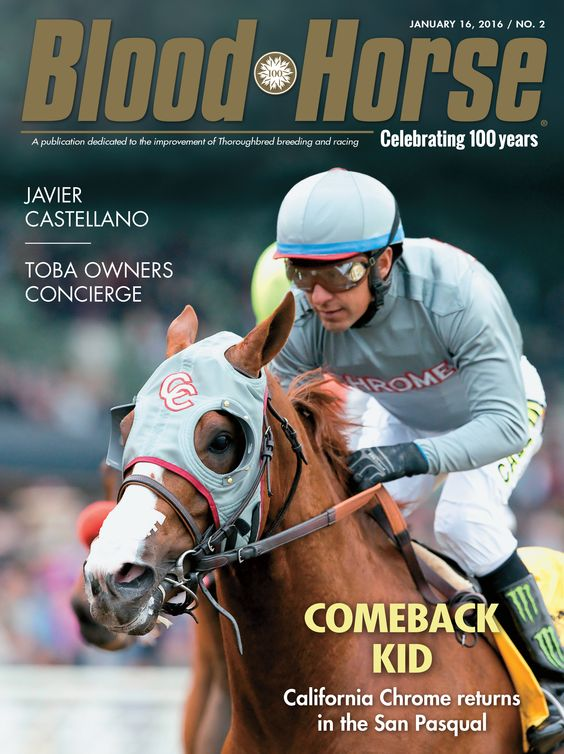 Issue 2, January 16, 2016. Comeback Kid: California Chrome returns in the San Pasqual. Also in this issue: Javier Castellano, TOBA Owners Concierge. Buy this issue: http://shop.bloodhorse.com/products/copy-of-blood-horse-january-16-2016-print-1