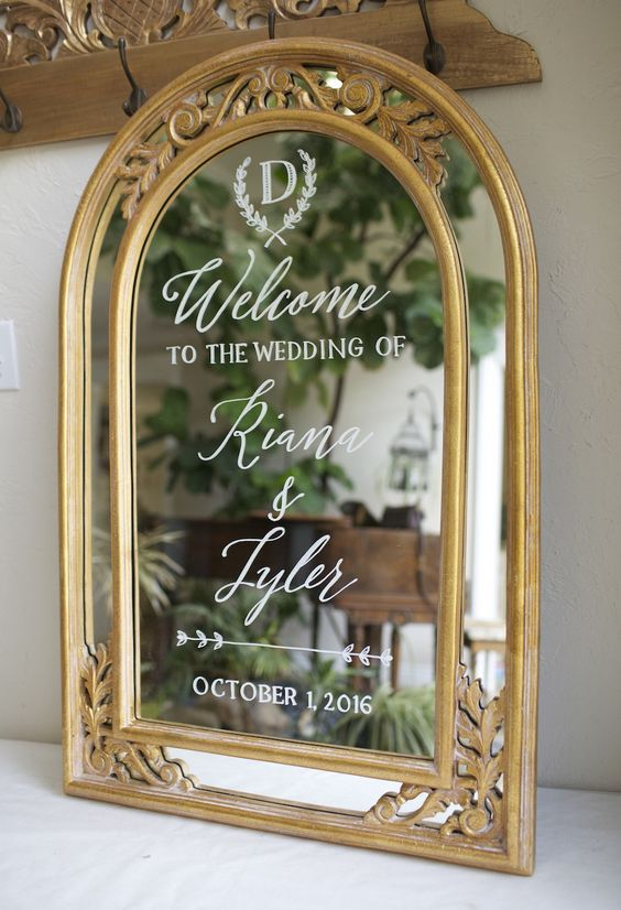 Gold ornate framed wedding welcome with custom monogram. Vintage framed wedding sign. Personalized custom etsy signs
