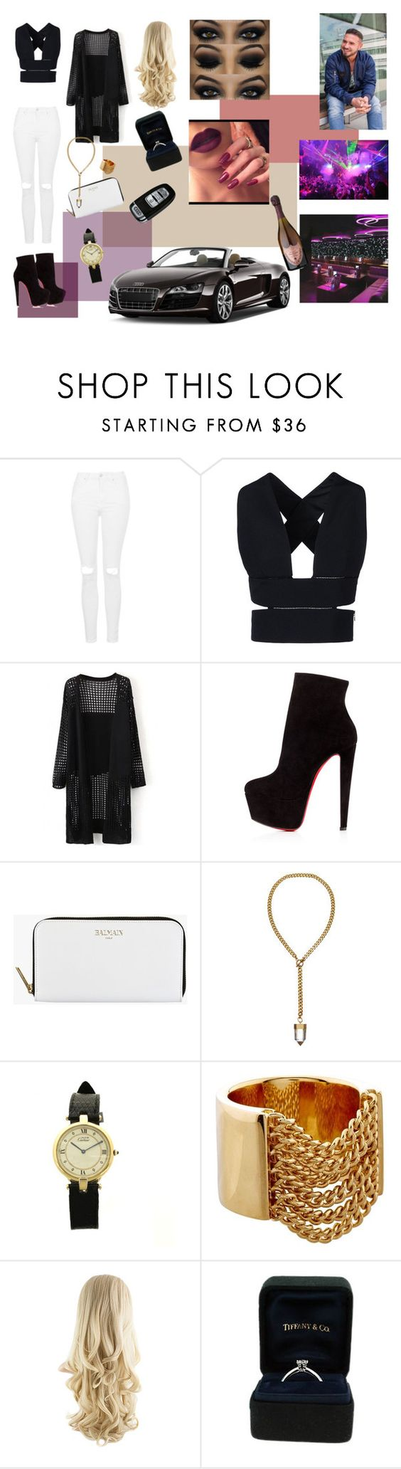 """""""it's my Birthday."""" by l4-l0ve ❤ liked on Polyvore featuring Topshop, STELLA McCARTNEY, Christian Louboutin, Balmain, Cartier, Spyder, Libertine, Tiffany & Co., Dom Pérignon and women's clothing"""