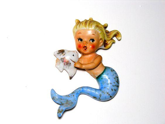 Mermaid Wall Plaque Norcrest Porcelain Blonde Hair Blue Tail Fish Vintage Beach Cottage Kitsch Figurine. $75.00, via Etsy.