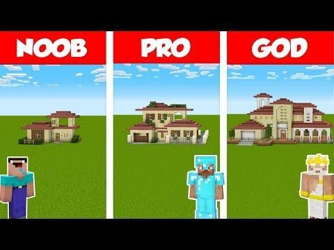 Minecraft Noob Vs Pro Vs God Italian House Build Challenge In Minecraft Animation Noob Italian Home Building A House