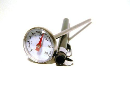 Thermometer with 1 inch Dial 6 inch metal probe -10 to 50 C by Scientific Equipment of Houston. $7.95. This pocket thermometer features a stainless steel 5 inch probe and ranges from -10 degrees to 50 degrees C. Temperatures are shown on a dial display. Includes protective sleeve with pocket clip.