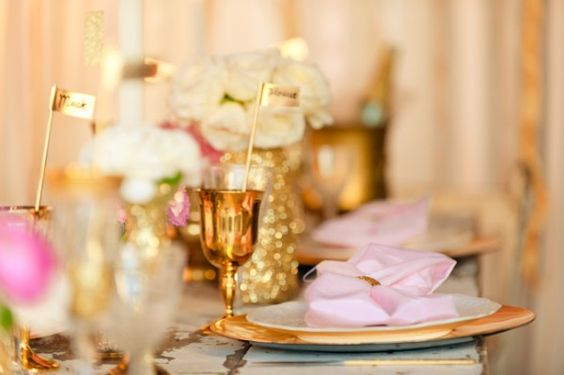 Pink and glittery gold wedding...