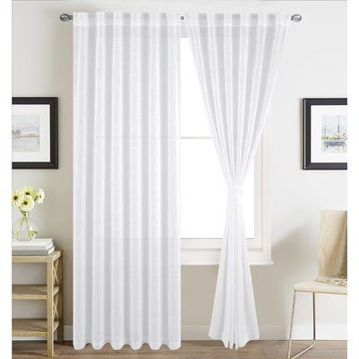 Charlton Home Destini Solid Color Sheer Rod Pocket Curtain Panels