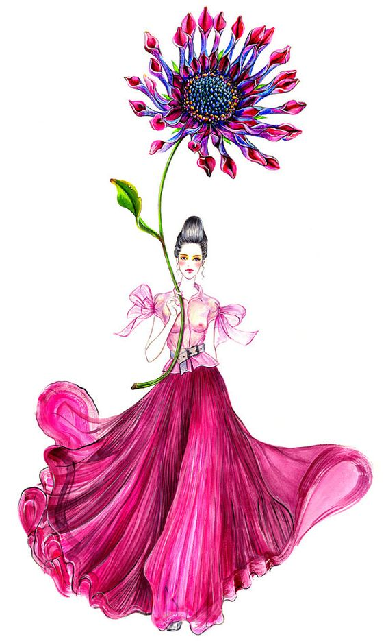 Flower MoodGirl with flower Watercolor Fashion by sunnygu on Etsy, $30.00