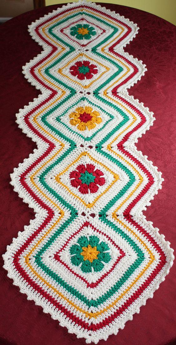 Joyful Flowers Table Runner Pattern By Maria Bittner