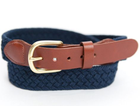 navy and brown men's belt