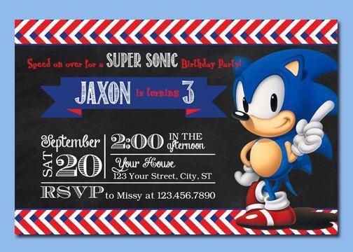 Sonic the Hedgehog Personalized Printable Digital Birthday – Sonic Birthday Invitations