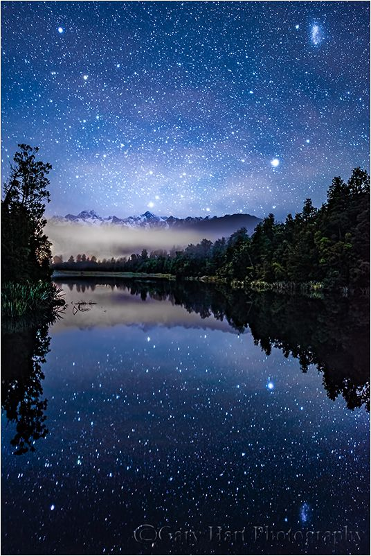 Image Of Dark Sky Lake Matheson New Zealand From The Landscape Rural Photos Of Gary Hart Night Sky Photography Sunrise Photography Night Sky Wallpaper