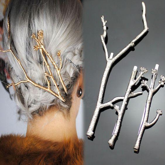 Spinki do włosów 3 sztuki Gold Branch