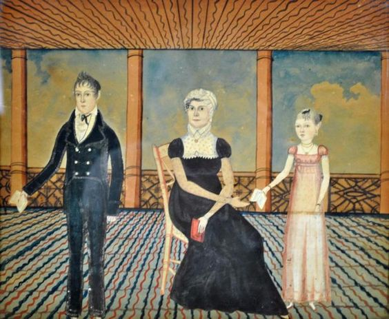 AMERICAN SCHOOL CUT-OUT & PAINTED FAMILY PORTRAIT
