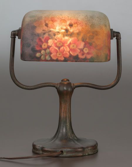 HANDEL REVERSED PAINTED GLASS DESK LAMP WITH BRONZE BASE Circa 1915, Painted: HANDEL, 6760; Cloth label: Handel Lamps