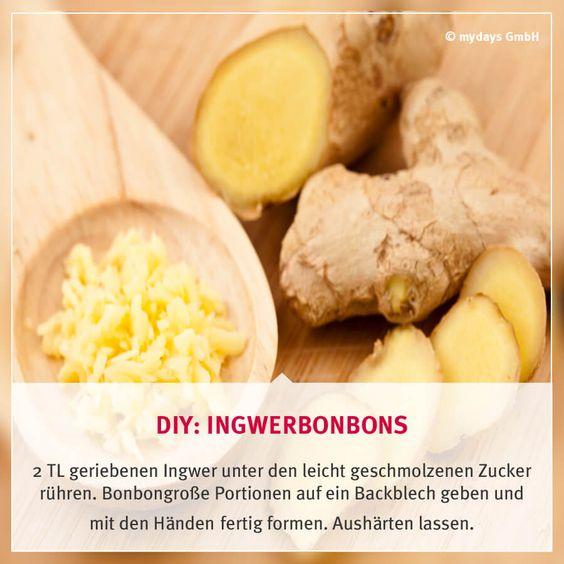 DIY: Ingwerbonbons - Du kennst Ingwer nur im Tee oder in Gerichten? Dieses Bonbon ist mal etwas anderes und schmeckt nicht nur gut sondern schont auch noch Deinen Hals!