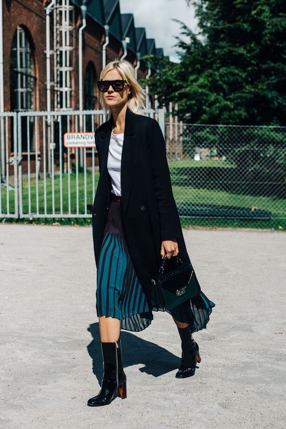 Pleated Skirt and Boots