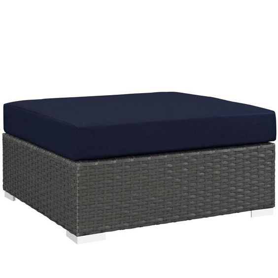 Modway Sojourn Wicker Square Outdoor Ottoman