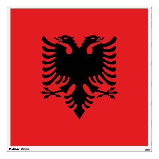 Flag Of Albania Wall Decal Zazzle Com Albanian Flag Flag Custom Wall Decal