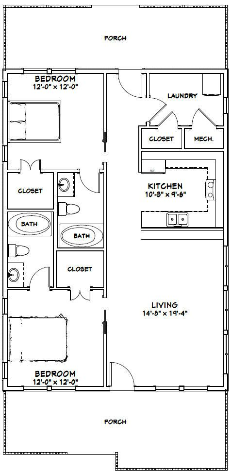 28x40 House 28x40h2 1 120 Sq Ft Excellent Floor Plans Small House Floor Plans Small Apartment Floor Plans Tiny House Floor Plans