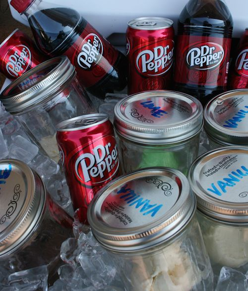 An easy way to serve ice cream floats at a party! Have mason jars already prepped with ice cream inside. Keep them over ice and add your favorite soda!