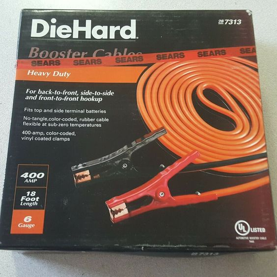 Diehard Car Battery Charge Red Black Booster Jumper Cable 18ft 6 Gauge 400amp Diehard Car Battery Booster Cable
