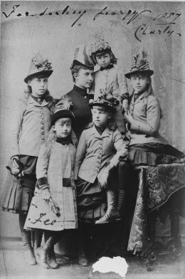 Group photograph of the children of Alfred, Duke of Edinburgh with Princess Charlotte, Duchess of Saxe-Meiningen and her daughter, Princess Feodora, 1887.