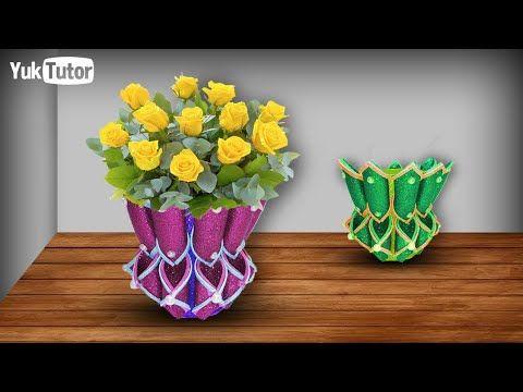 134 Ide Kreatif Cara Membuat Pot Bunga Dari Glitter Foam Pot Meja Vas Bunga Youtube Pot Bunga Bunga Kreatif