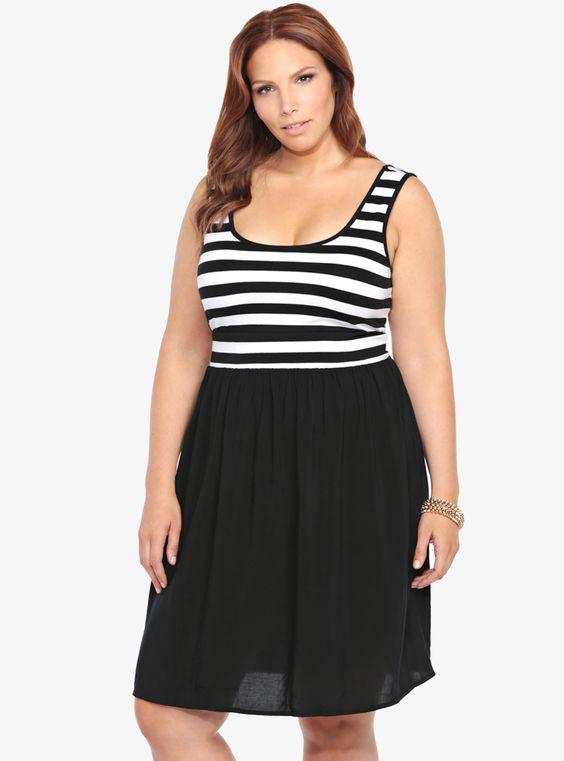 Striped Knit-To-Woven Tank Dress | Torrid