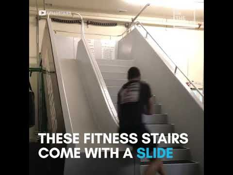 Speed Stairs Slide For Work Out For Everyone It S Amazing Youtube Stair Slide Stairs For Everyone