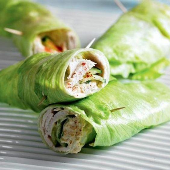 Healthy Turkey & Cucumber Lettuce Wrap #healthy #lunch #recipe