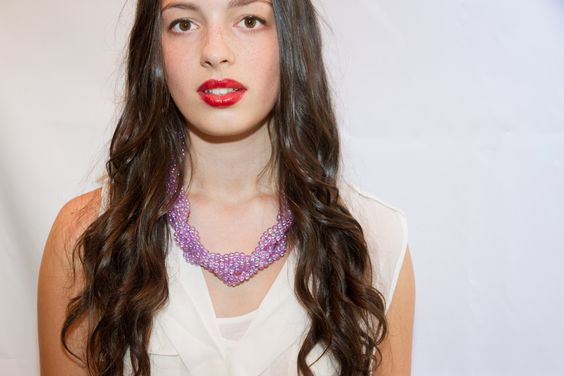 Purple beaded statement necklace painstakingly handmade in Melbourne