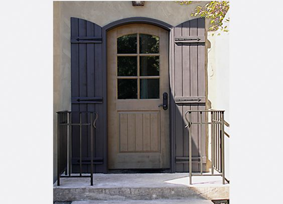 Side door french country exterior and exterior shutters for Country shutters exterior