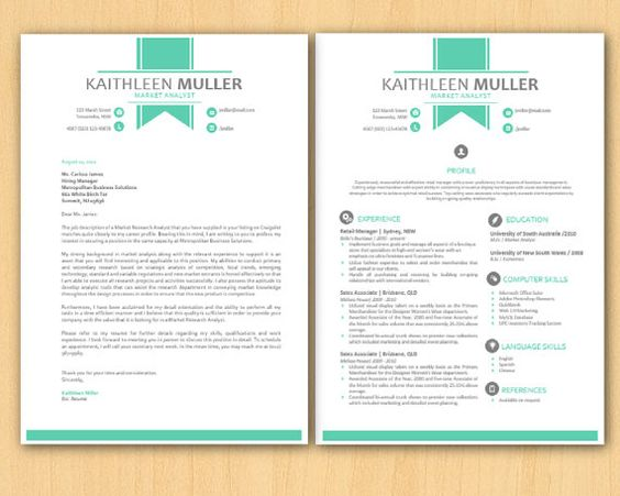 green banner modern microsoft word resume and cover letter