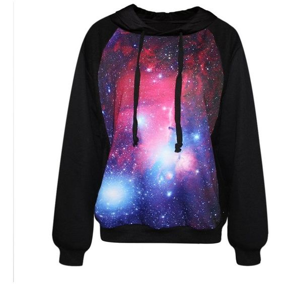 Amazon.com: Voglee- Fashion Digital Print Finn Autumn Winter Hooded; galaxy print