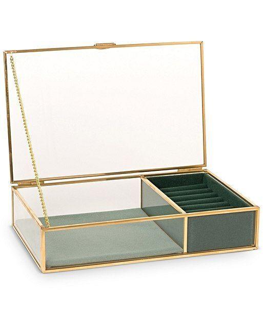 Black Velvet Necklace Pendant Gift Box With Brass Trim