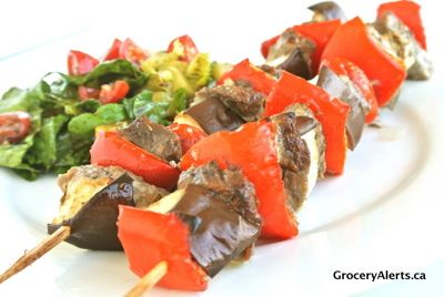 """Turkish yogurt kebabs with grilled summer vegetables."""