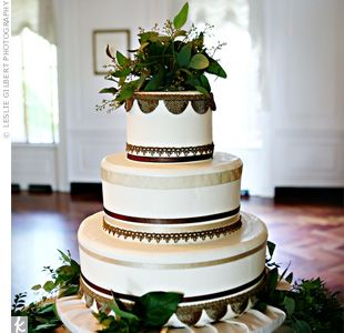 Gorgeous wedding cake with ribbon from theknot.com