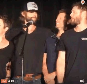 1. Jared ships it. 2. look how quickly Jensen caught on 3. Misha looks so natural under Jensens arm 4. is it just me or is misha nuzzling into Jesen.