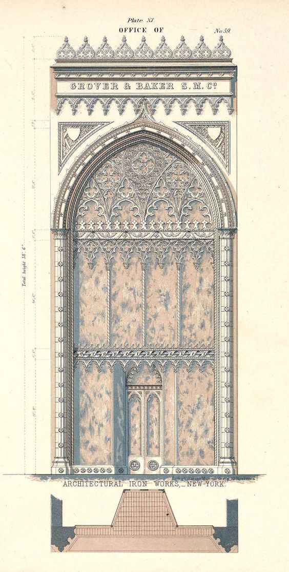 New York - Design for a cast iron office facade #Gothic Revival 19th century