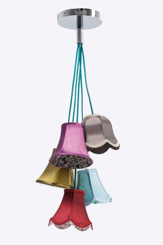 Kare - Lampe plafonnier Saloon à abat-jour fleurs