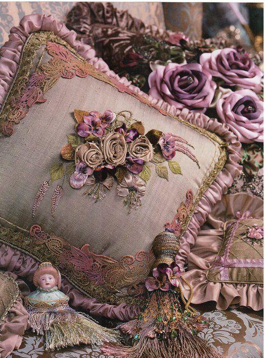 faded purple: Shabby Chic, Ribbon Rose, Ribbon Flower, Ribbon Work, Gorgeous Pillow