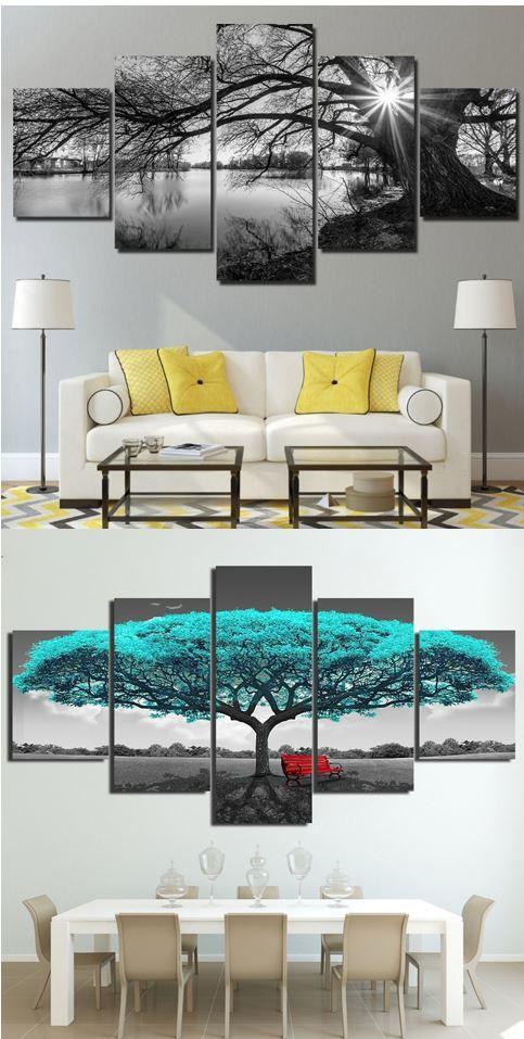 Modular Tree Canvas Wall Art Hd Wall Decor Living Room Classy