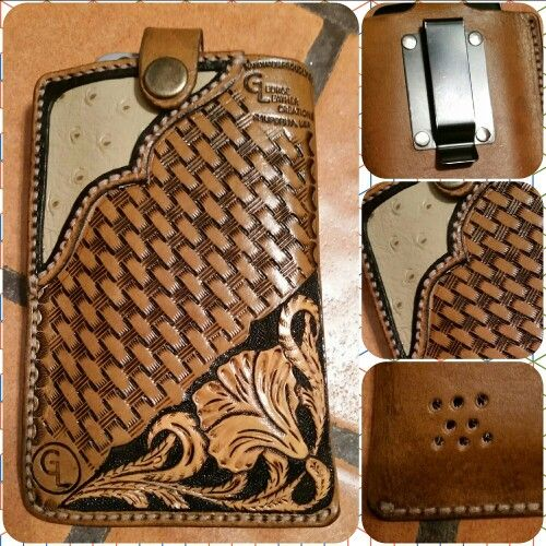 Finished this cell phone holster the other day. Designed to hold 2 phones,  (Galaxy S5 & iPhone 6), comfortably. Basket weave design with Sheridan style tooling in one corner and tan ostrich inlay in the other. Fastened by a heavy duty belt clip  #georgeleathercreations #georgeleather #holster #leather #iphone #galaxy #cellphoneholster #leatherphonecase #phonecase