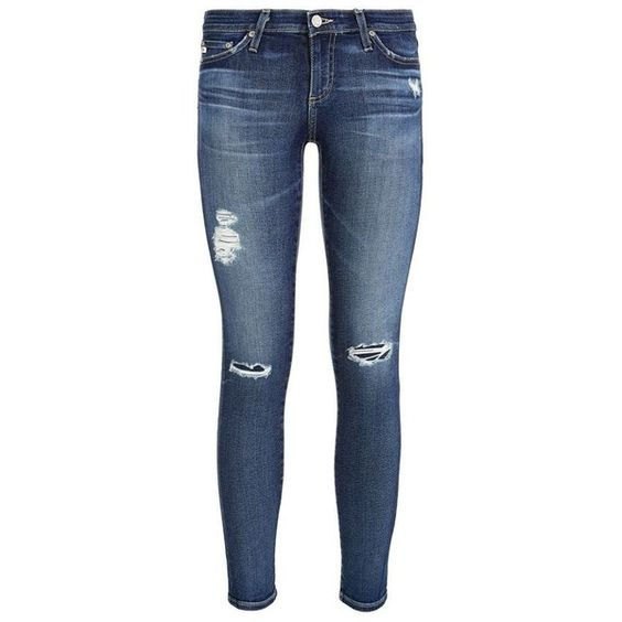 AG Jeans The Legging Ankle Jeans (€315) ❤ liked on Polyvore featuring jeans, pants, short pants, ripped blue jeans, ankle jeans, torn skinny jeans and skinny leg jeans