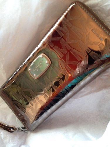 Michael Kors  Metallic Nickel Lg Jet Set Zip Around Continental Wallet Wristlet